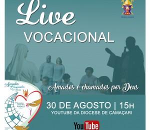 Encerrando o mês vocacional, live será realizada neste domingo (30/08)