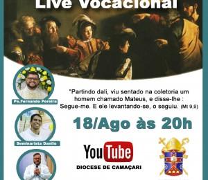 Live vocacional acontece nesta terça-feira (18) pelo Youtube da Diocese de Camaçari