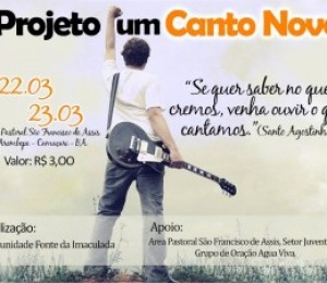 Projeto Canto Novo acontece neste final de semana (22 e 23/03)