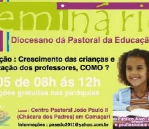 Inscrições abertas para Seminário da Pastoral da Educação