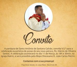 Posse de pároco na Paróquia Santo Antônio de Santana Galvão acontece neste sábado (11)