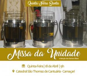 Quinta-feira santa : Missa da unidade será celebrada na Catedral São Thomaz de Cantuária